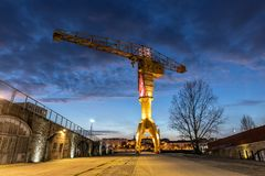 Titan yellow crane on Island of Nantes stock photography