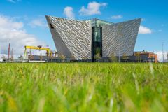 Titanic Belfast with Goliath and Samson Cranes on the background, Northern Ireland royalty free stock photos