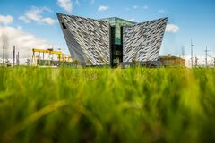 Titanic Belfast with Goliath and Samson Cranes on the background, Northern Ireland royalty free stock images
