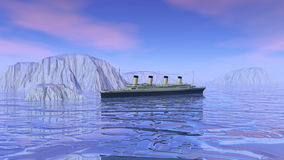 Titanic boat sinking - 3D render. Big Titanic boat floating to an iceberg and sinking in the ocean stock illustration