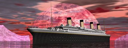 Titanic boat by sunset - 3D render Stock Photography