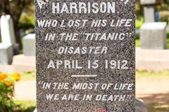 Titanic Cemetery. Place in the city of Halifax in Canada where t royalty free stock photo