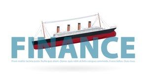 Titanic d'affondamento in finanza - scherzo della metafora, frizzo della parafrasi, simbolo di cattiva situazione finanziaria Fotografia Stock