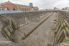 Titanic dry dock in Belfast. The Titanic dry-dock in Belfast, Northern Ireland. The last place the Titanic sat on dry ground as they finished construction on the royalty free stock photos