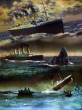Titanic on grunge. Three scenes representing the Titanic liner Stock Photos