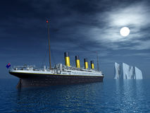 Titanic and Iceberg. Computer generated 3D illustration with the Titanic and an Iceberg Royalty Free Stock Images
