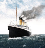 Titanic Leaving Ireland. A Digital Illustration of what the RMS Titanic might have looked like as she left Ireland in 1912, her last port of call to cross the Stock Photo
