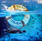 Titanic Lifesaver. Titanic lifesaver in blue ocean water Royalty Free Stock Images