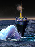 Titanic liner in the fatal moment. The Titanic liner, navigating the ocean at night, under stars, and striking the iceberg which would cause its wreck Stock Image