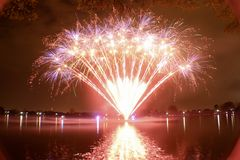 Titanic memorial fireworks in Washington DC. On Potomac river in DC royalty free stock photography