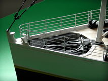 Titanic Model Greenscreen. A green-screen test shot of a custom made 1/20th scale model of the White Star Line RMS Titanic's bow Royalty Free Stock Photo