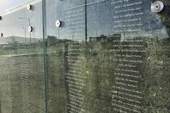 Titanic Museum Glass imprint Memorial. Glass and rock printed memorial on the naval site behind the Titanic Museum Stock Image