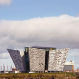Titanic Museum Palace. Belfast, United Kindom -  febrary 22, 2016: Titani Museum Palace oh the harbour in a sunny day Royalty Free Stock Image