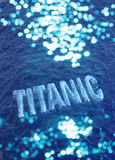 Titanic name made of ice. Royalty Free Stock Images