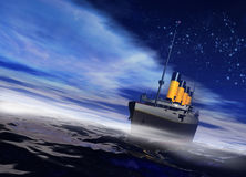 Titanic sailing on the night ocean with fog rising Stock Photography