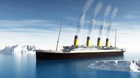 Titanic ship - 3D render stock illustration