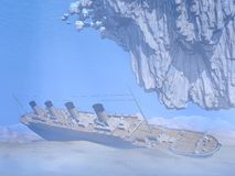 Titanic ship wreck - 3D render Royalty Free Stock Images