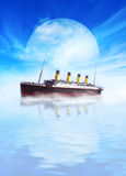 Titanic ship sailing in calm waters with moon. Stock Photo