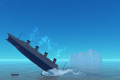 Titanic Sinking. The RMS Titanic ship of history goes down to the ocean floor on the tragic night of April 15, 1912 Stock Photo