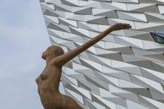 Titanicastandbeeld, Kolossaal Museum, Belfast, Noord-Ierland Royalty-vrije Stock Foto's