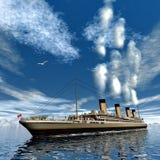 Titanisches Schiff - 3D übertragen Stockfotografie