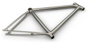 Titanium bike frame. Isolated on white Stock Images