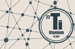 Titanium chemical element. Sign with atomic number and atomic weight. Chemical element of periodic table. Molecule And Communication Background. Connected Royalty Free Stock Image