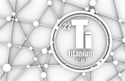 Titanium chemical element. Sign with atomic number and atomic weight. Chemical element of periodic table. Molecule And Communication Background. Connected Stock Photography