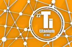 Titanium chemical element. Sign with atomic number and atomic weight. Chemical element of periodic table. Molecule And Communication Background. Connected Stock Photos