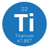 Titanium chemical element. Titanium, chemical element. Transition metal of high strength. Colored icon with atomic number and atomic weight. Chemical element of Royalty Free Stock Image