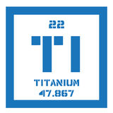 Titanium chemical element. Titanium, chemical element. Transition metal of high strength. Colored icon with atomic number and atomic weight. Chemical element of Stock Image