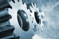Titanium cogwheels and gear parts Royalty Free Stock Photography