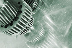 Titanium gears and cogs arrangement Royalty Free Stock Image