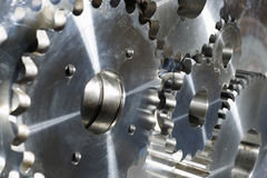 Titanium gears machinery. Industrial parts for the aerospace industry Stock Photos