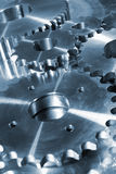 Titanium gears and pinions. Titanium gears machinery, industrial parts for the aerospace industry Royalty Free Stock Photography
