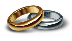 Titanium and gold wedding rings symbol Royalty Free Stock Photo