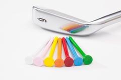Titanium golf clubs on the white table Stock Photo