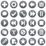 Titanium icons 1. Titanium smooth metal icon set rounds Stock Image