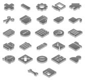 Titanium icons Basic. Set 1 of 2 titanium icon sets Stock Photography