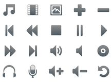 Titanium multimedia icons. Titanium multimedia icon set, 20 smooth icons Royalty Free Stock Photo