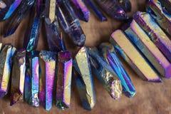 Titanium Quartz. Rainbow natural beads Stock Photo
