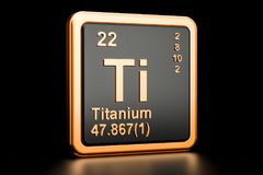 Titanium Ti chemical element. 3D rendering. Titanium Ti, chemical element. 3D rendering isolated on black background Royalty Free Stock Photography
