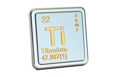Titanium Ti, chemical element sign. 3D rendering. Isolated on white background Stock Image