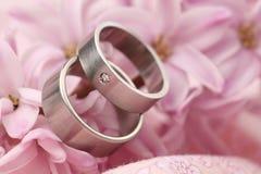 Titanium wedding rings on hyacinth Royalty Free Stock Image