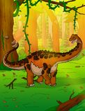Titanosaur on the background of forest. Vector illustration Royalty Free Stock Photography