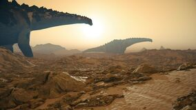 Titanosaur Jurassic World Dinosaurs Background Sun 3D Rendering Animation 4K