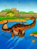Titanosaur on the river background. Vector illustration Royalty Free Stock Image
