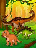 Titanosaur, Stegosaurus and Triceratops on the background of forest.  vector illustration