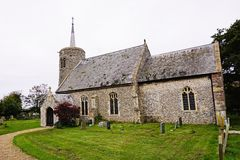 Titchwell Village Church. St Mary's church Titchwell which dates from the 11th century. The tower is an interesting example of the many East Anglian Royalty Free Stock Images