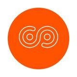 Titcoin crypto valutabild, rund monokrom linjär symbol, enkel färgändring Arkivbilder